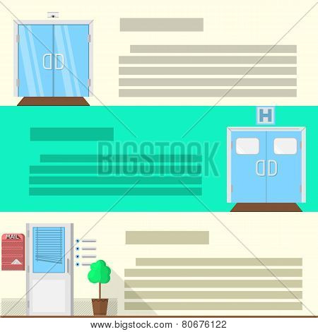 Flat color vector icons set for doors