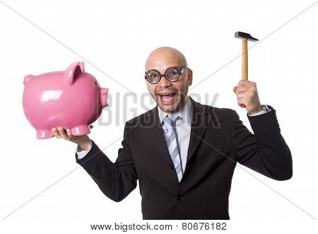 Bald Nerdy Businessman With Geek Glasses Holding Pink Piggybank On His Hand Ready To Break Piggy Ban