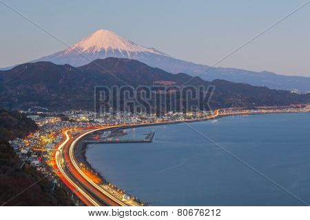 View of Tomai expressway and Suruga bay with mountain fuji at Shizuoka prefecture