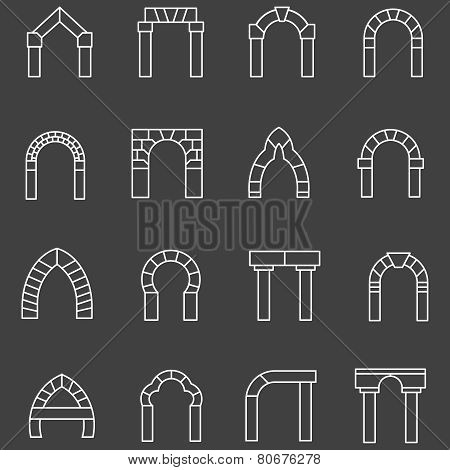 White flat line vector icons for archway