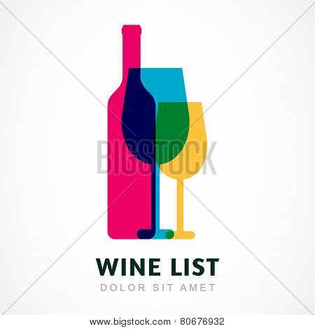 Abstract Colorful Logo Design Template. Wine Bottle And Glass Vector Icon. Concept For Bar Menu, Par