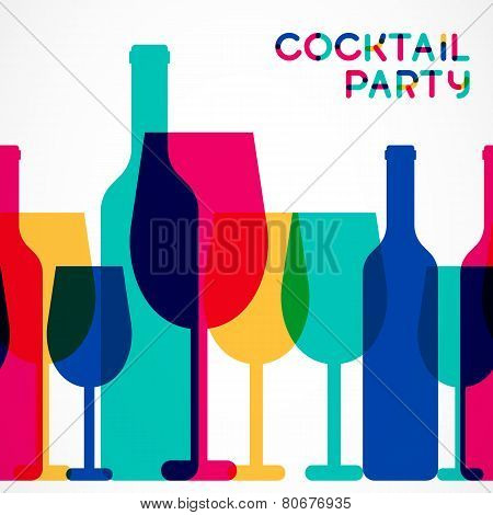 Abstract Colorful Cocktail Glass And Wine Bottle Seamless Background. Concept For Bar Menu,