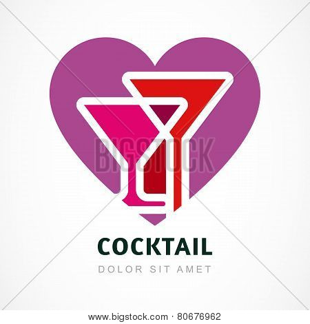 Abstract Logo Design Template. Colorful Cocktail In Heart Shape. Concept For Bar Menu,