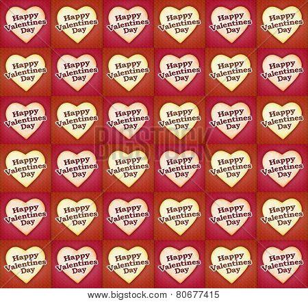 Heart Shaped Happy Valentine Day Tex Pattern