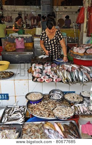 Fish Stall At Ben Tanh Market, Ho Chi Minh City.