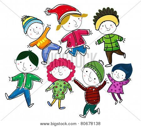 Vector illustration of group of cute winter children