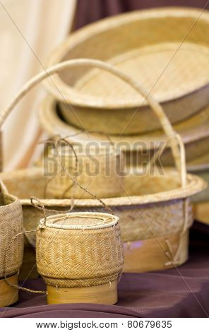 Sticky Rice Container And Wickerwork Handicraft.