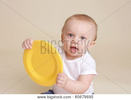 Child With Plate, Baby Eating And Nutrition