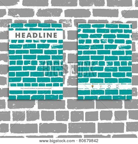 Cover vector book with background color brickwork