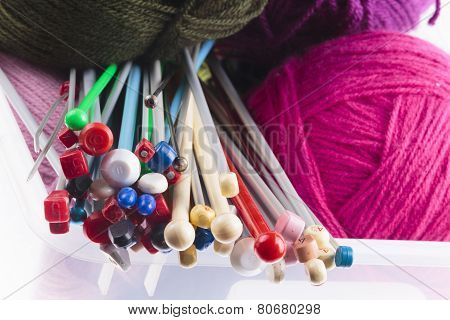 Collection Of Assorted Knitting Needles