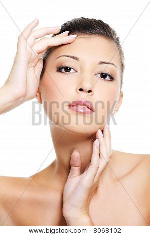 Beauty Asian  Female Face With Hands