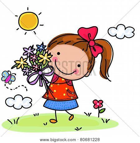 Little girl and flower