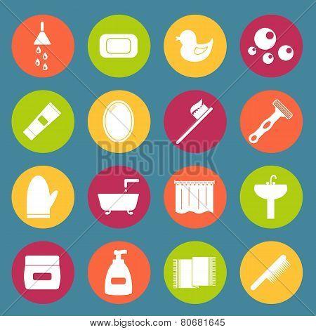 Set of simple bathroom icons