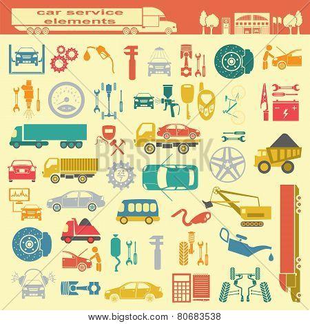 Set Of Auto Repair Service Elements