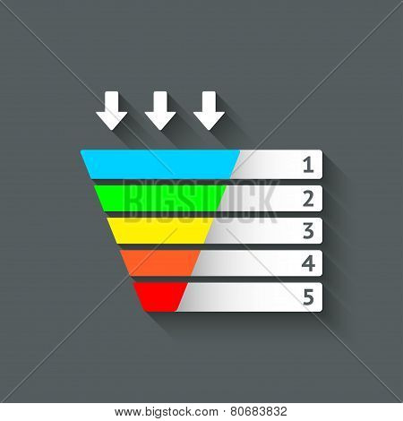 color marketing funnel symbol
