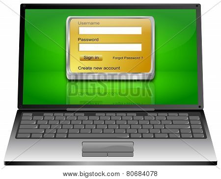 Laptop Computer with Login screen