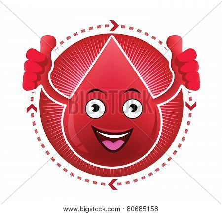 Cartoon smiling blood icon