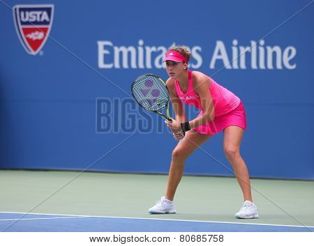 Professional tennis player Belinda Bencic from Switzerland during round 4 match