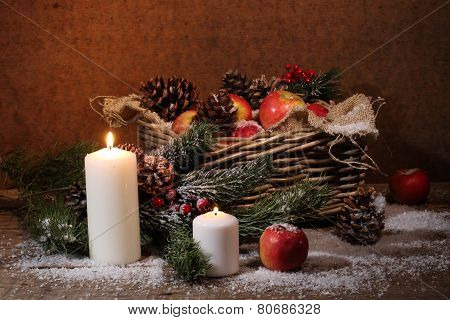 Apples And Cones In A Wattled Basket, Candles And A Pine Branch, A New Year's Still-life