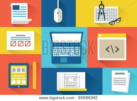 Vector Set Of Equipment For Programing. Flat Style Design With Shadows