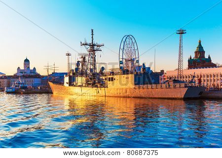 Military ship in Helsinki, Finland