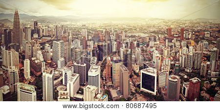 Retro Filtered Skyline Of Kuala Lumpur, Malaysia.