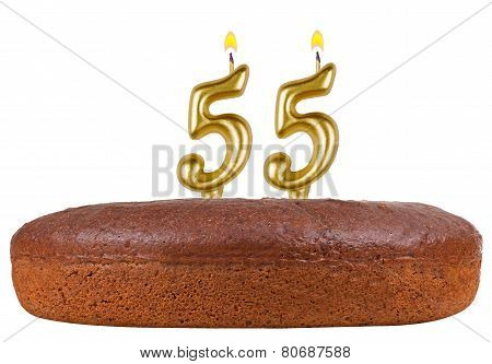 Birthday Cake With Candles Number 55 Isolated