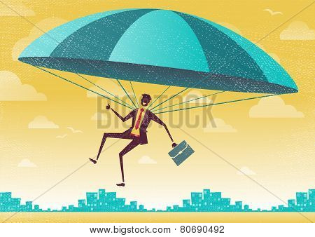 Businessman Uses His Parachute.