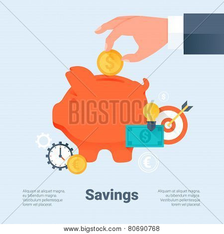Piggy Bank With Hand And Coin. Saving Money And Investment Business Concept. Flat Style