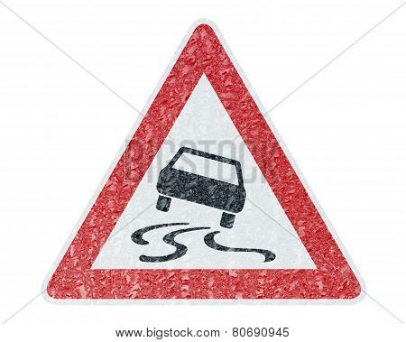 Winter Driving - Ice Covered Warning Sign - Caution Sleekness