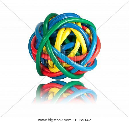 Ball Of Colored Network Cables With Reflection Isolated On White