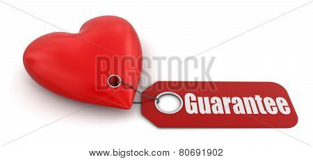 Heart with label Guarantee (clipping path included)