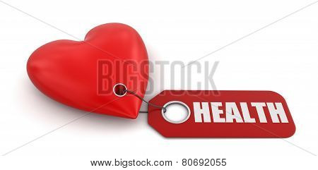 Heart with label Health (clipping path included)
