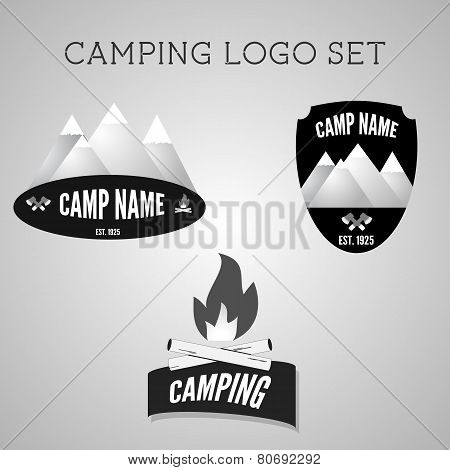 Set Of Silver Outdoor Adventure Badges And Campsite Logo Emblems. Summer 2015 Banner.