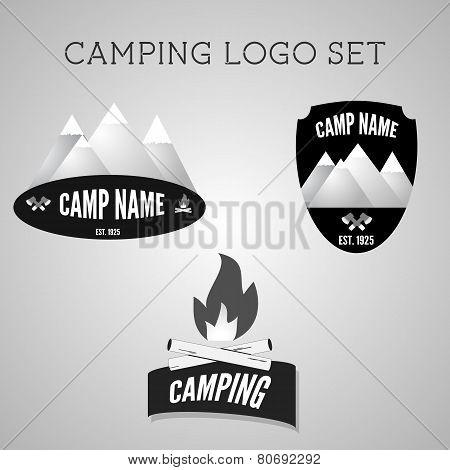 Set Of Silver Outdoor Adventure Badges And Campsite Logo Emblems. Summer 2015 Banner.