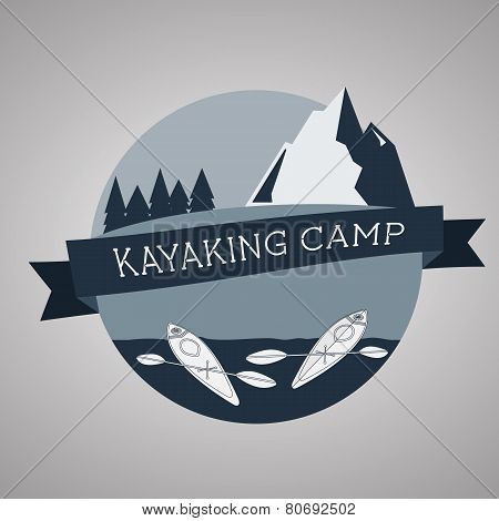 Kayaking Camp Logo. Expedition Label And Sticker. Unusual Design. Summer Outdoor Adventures.