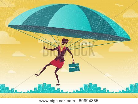Businesswoman Uses Her Parachute.