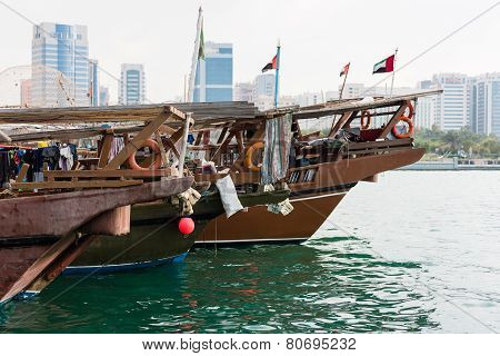 Old Fishing Boats In Abu Dhabi, Uae