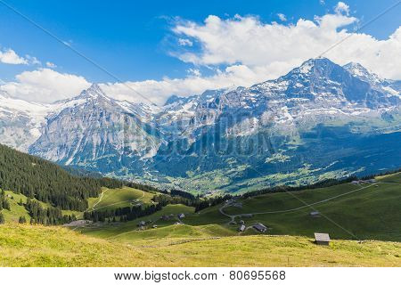 Panoramic View Of Eiger, Schreckhorn And The Valley