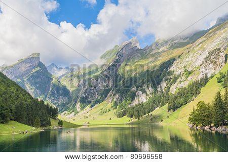 Seealpsee (lake) And The Alpstein Massif