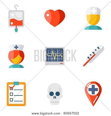 Isolated icons set Medical