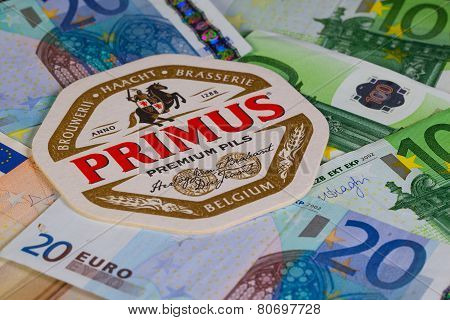 Beermat From Primus Beer And Eur Money.