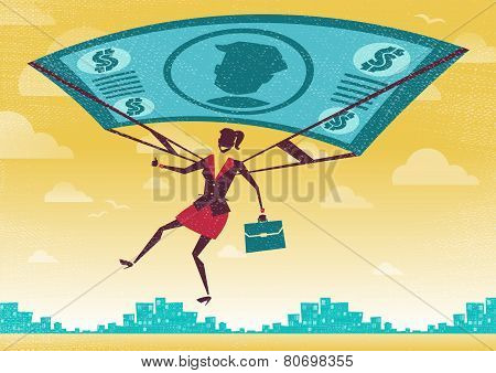 Businesswoman Uses Her Financial Dollar Bill Parachute.