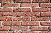 image of tile cladding  - Red bricks wall in closeup sunny day - JPG