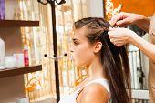 image of braids  - young woman in hair salon making braid of hair - JPG