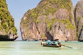 picture of koh phi-phi  - Traditional longtail boat in bay on Phi Phi Island KrabiThailand beach Phuket - JPG