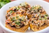 pic of edible mushroom  - Stuffed Mushrooms with Cheese and Smoked Bacon - JPG