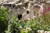 stock photo of burial  - Jerusalem Garden Tomb in Jerusalem - JPG
