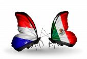 stock photo of holland flag  - Two butterflies with flags on wings as symbol of relations Holland and Mexico - JPG