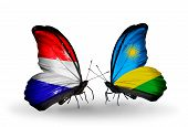 picture of holland flag  - Two butterflies with flags on wings as symbol of relations Holland and Rwanda - JPG